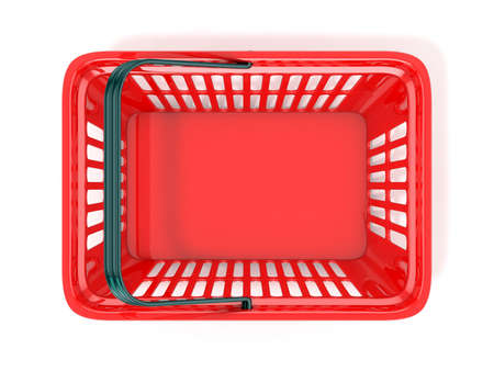 empty basket: Red shopping basket, top view. 3D rendered illustration Stock Photo