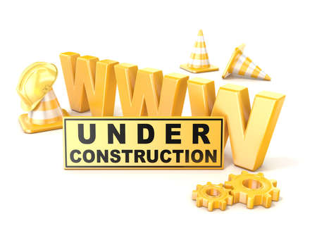 web page under construction: Under construction sign. 3D render illustration