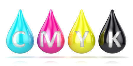 CMYK ink droplets sign. 3D render isolated on white background