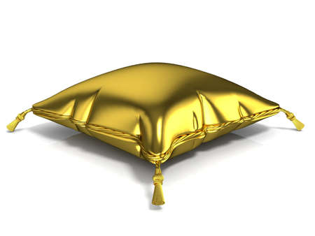Royal golden pillow. 3D render illustration isolated on white background