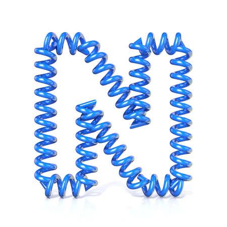 elasticidad: Primavera, espiral carta colección de fuentes cable - N. 3D render Ilustración, aislado sobre fondo blanco