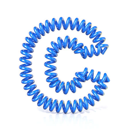 coiled: Spring, spiral cable font collection letter - C. 3D render illustration, isolated on white background