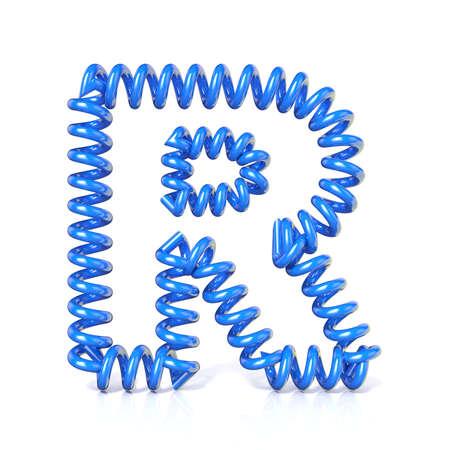 elasticidad: Primavera, espiral carta colecci�n de fuentes cable - R. 3D render Ilustraci�n, aislado sobre fondo blanco