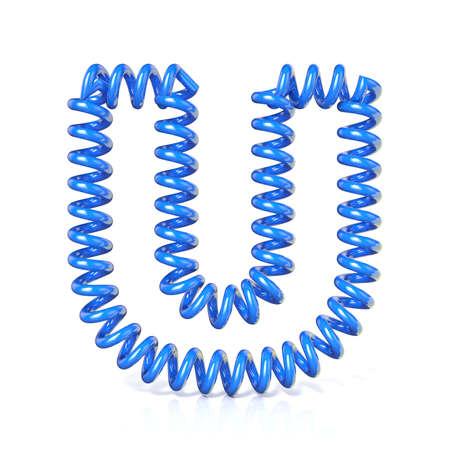 elasticidad: Primavera, espiral carta colecci�n de fuentes de cable - U. 3D render ejemplo, aislado en fondo blanco Foto de archivo