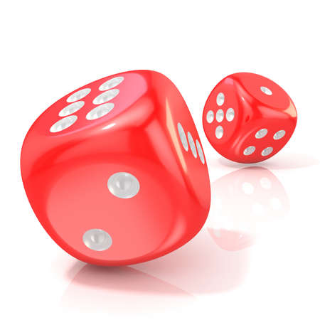 distraction: Two red game dices. 3D render illustration isolated on white background Stock Photo