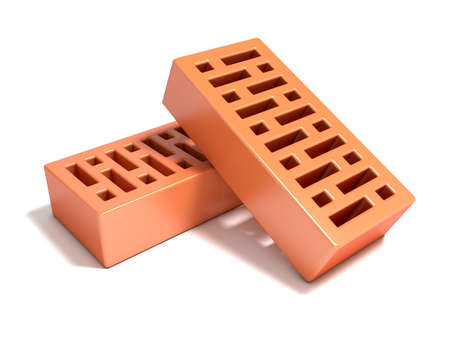 stone mason: Two red bricks with rectangular holes. 3D render illustration isolated on a white background. Stock Photo