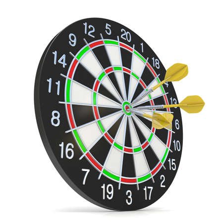 Dartboard with three orange darts on bullseye. Side view. 3D render illustration isolated on white background