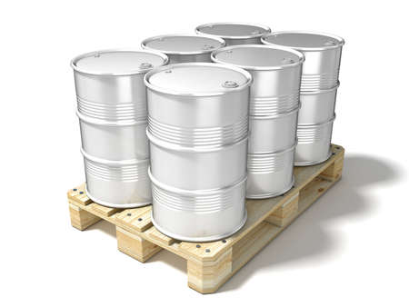 euro pallet: White oil barrels on wooden euro pallet. 3D illustration isolated on a white background Stock Photo