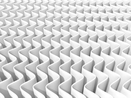 light source: White abstract wave background. 3D render, one light source, soft shadows. Front view Stock Photo