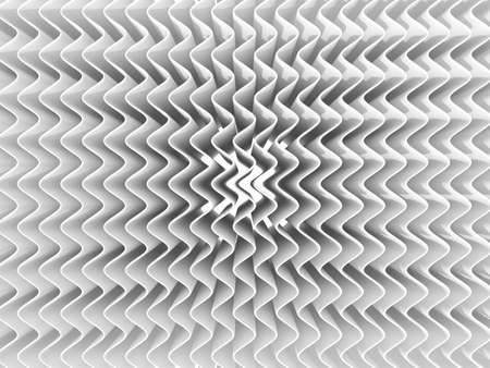 light source: White abstract wave background. 3D render, one light source, soft shadows. Top view