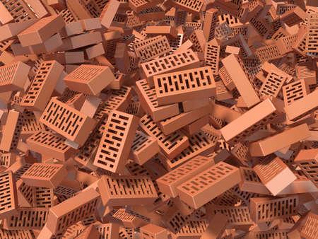 raze: Heap of falling, flying, scattered bricks background. 3D rendered illustration