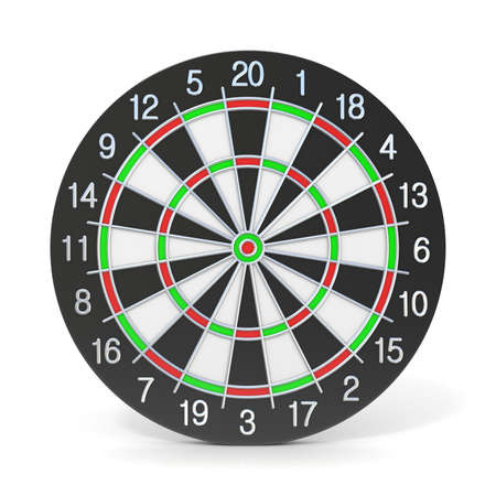 bull rings: Dartboard. Front view. 3D render illustration isolated on white background