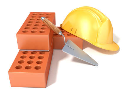 angled view: Safety helmet with round perforated bricks and trowel. 3D render illustration, Isolated white background. Side, angled view.