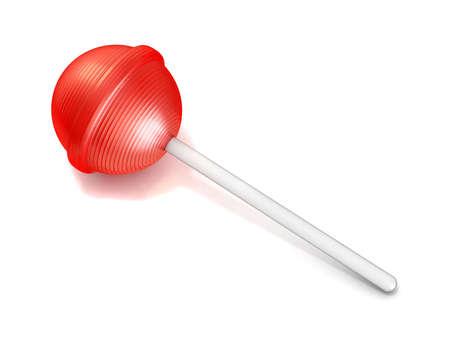 paleta de caramelo: Piruleta roja individual. 3D rinden la ilustraci�n aislada en el fondo blanco
