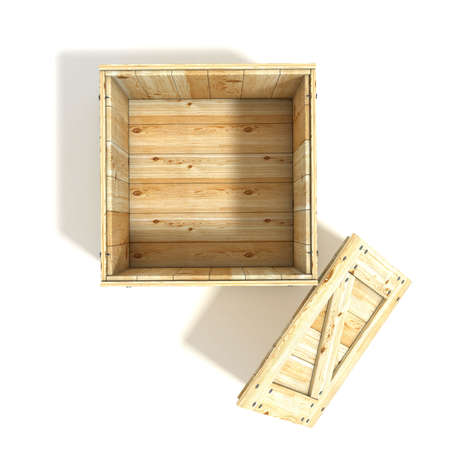wooden crate: Opened wooden crate. Top view. 3D render illustration isolated on a white background Stock Photo