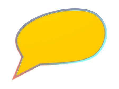 converse: Orange blank speech bubble. 3D illustration isolated on white background