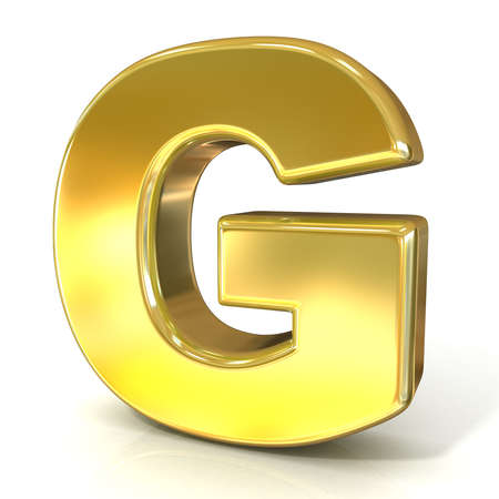 gold letter: Golden font collection letter - G. 3D render illustration, isolated on white background.