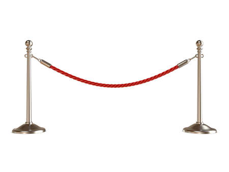 Barrier rope on white. 3D render illustration isolated on white background Reklamní fotografie