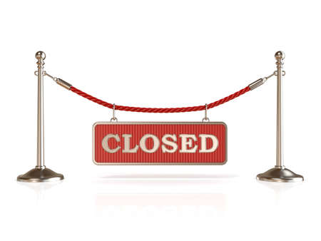 closed club: Velvet rope barrier, with CLOSED sign. 3D render isolated on white background