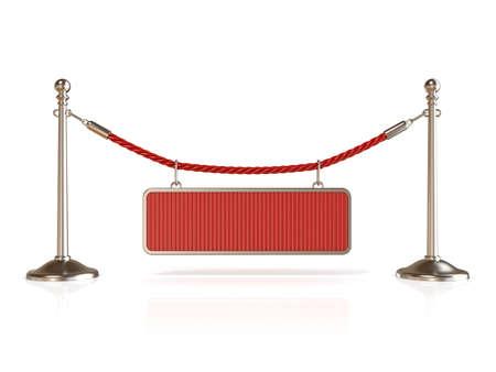 velvet rope: Velvet rope barrier, with BLANK sign. 3D render isolated on white background