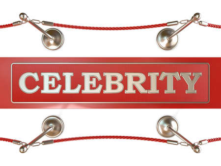 velvet rope barrier: Velvet rope barrier and red carpet, with CELEBRITY sign. 3D render isolated on white background