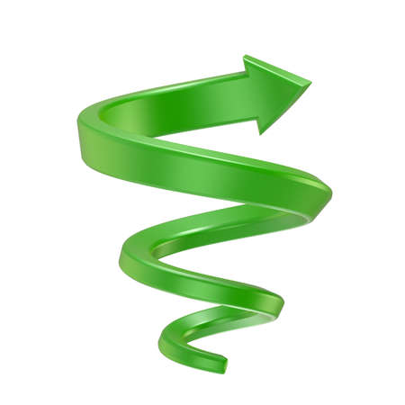 Green spiral arrow. Side view. 3D render illustration isolated on white background
