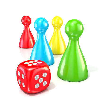 Board game figures with red dice. 3D render illustration isolated on white background Stock Photo