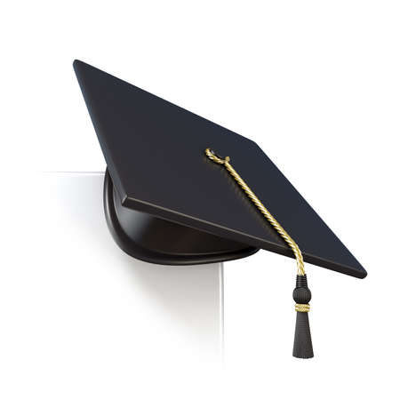 master page: Graduation cap on blank board corner. 3D render illustration isolated on white background