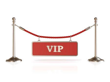 velvet rope barrier: Velvet rope barrier, with VIP sign. 3D render isolated on white background Stock Photo