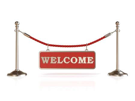 velvet rope: Velvet rope barrier, with WELCOME sign. 3D render isolated on white background Stock Photo