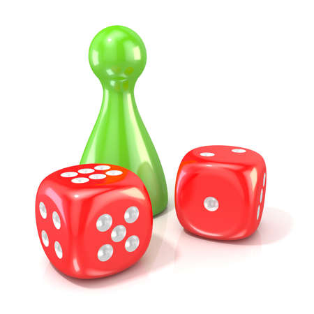 Board game figure with two red dice. 3D render illustration isolated on white background