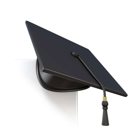 final college: Graduation cap on blank paper corner. 3D render illustration isolated on white background Stock Photo