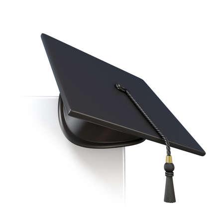 valedictorian: Graduation cap on blank paper corner. 3D render illustration isolated on white background Stock Photo