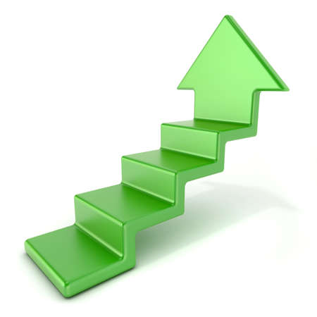stairs: Green up arrow stairs. 3D render illustration isolated on white background Stock Photo