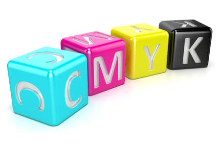 cmyk abstract: CMYK cubes. Abstract 3D render illustration isolated on white background Stock Photo