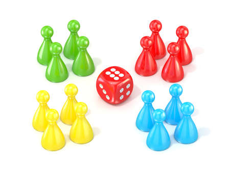 ludo: Ludo board game figurines. 3D render illustration isolated on white background Stock Photo
