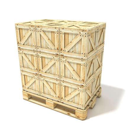 euro pallet: Wooden boxes on euro pallet. 3D render illustration isolated on a white background Stock Photo