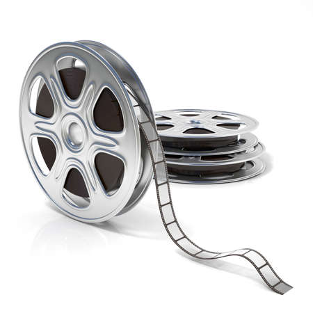 film shooting: Film reels. Video icon. 3D render illustration isolated on white background