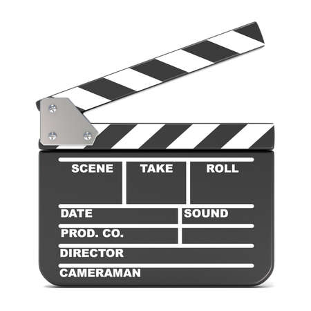 clapperboard: Movie clapperboard, opened. 3D render illustration isolated on white background