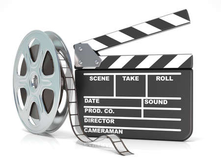 video reel: Film reel and movie clapper board. Video icon. 3D render illustration isolated on white background