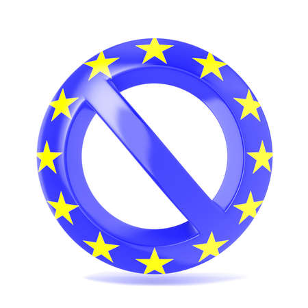 interdiction: Forbidden sign with EU flag. 3D render illustration isolated on a white background