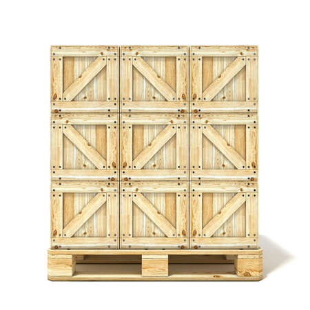 Wooden boxes on euro pallet. 3D render illustration isolated on a white background Stock Photo