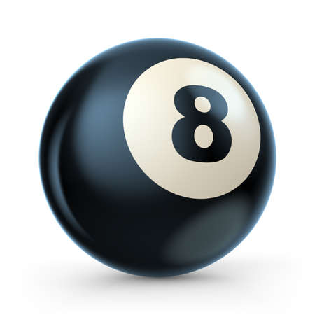 ball: Black pool game ball with number 8. 3D illustration isolated on white background