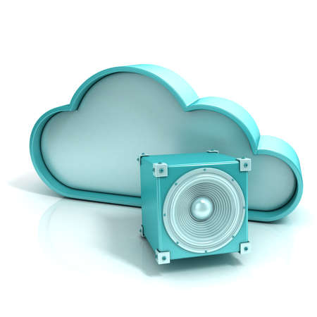 music 3d: Cloud music 3D computer icon. Illustration isolated on white background Stock Photo