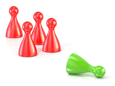 character assassination: Red play figures standing and green one lying . Concept of rejection. 3D render illustration isolated on white background Stock Photo