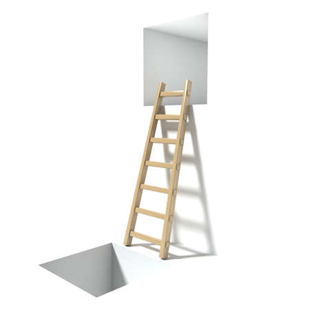 hopelessness: Wooden ladder, window and hole. Abstract hopelessness concept. 3D render illustration isolated on white background