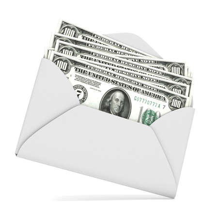 win money: Dollars in envelope. 3D render illustration isolated on white background Stock Photo