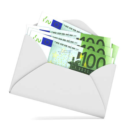 thievery: Euros in envelope. 3D render illustration isolated on white background