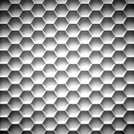 metal pattern: Black and white honeycomb. Abstract background. 3D illustration isolated on white background