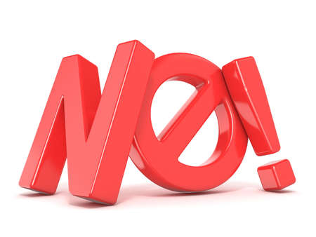 Word NO with prohibited symbol. 3D render illustration isolated on white background Фото со стока